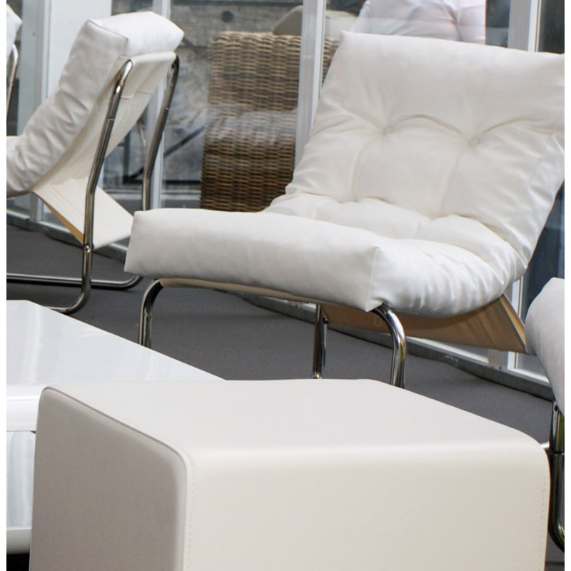 fauteuil seine en simili cuir blanc. Black Bedroom Furniture Sets. Home Design Ideas