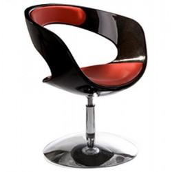 Fauteuil design RHIN en ABS (polymère à haute résistance) (noir et rouge)