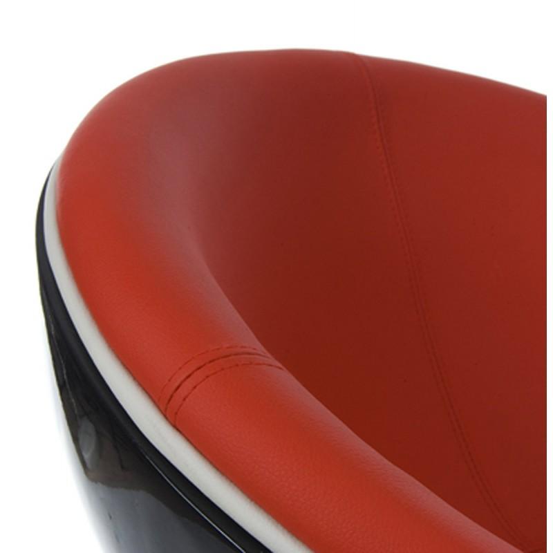 Fauteuil design garoe en simili cuir noir et rouge - Fauteuil design cuir noir ...