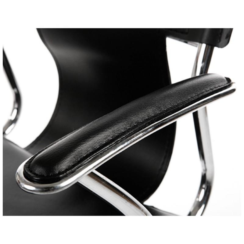 fauteuil de bureau chipie en simili cuir noir. Black Bedroom Furniture Sets. Home Design Ideas