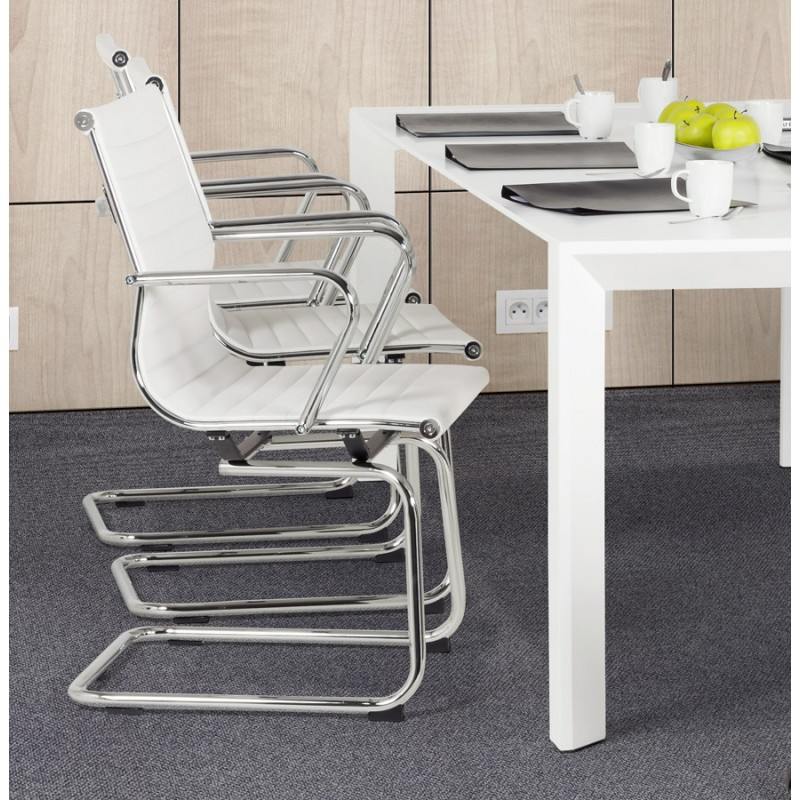 fauteuil de bureau courol en simili cuir blanc. Black Bedroom Furniture Sets. Home Design Ideas