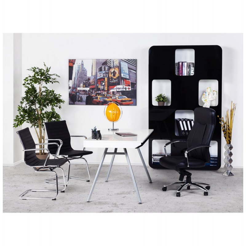 fauteuil de bureau courol en simili cuir noir. Black Bedroom Furniture Sets. Home Design Ideas