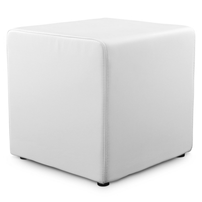Caille simi leather square ottoman white - Pouf blanc conforama ...