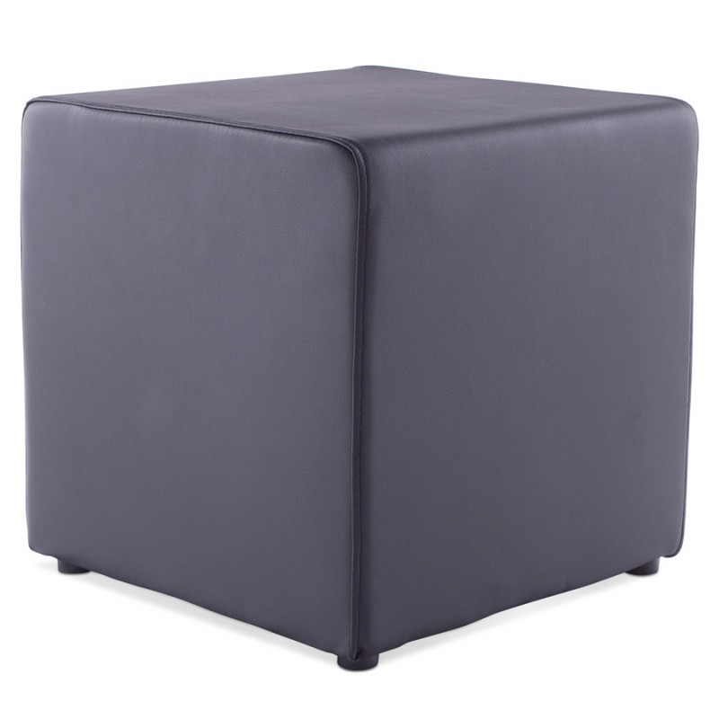 Pouf square caille simi leather black english english - Pouf simili cuir noir ...