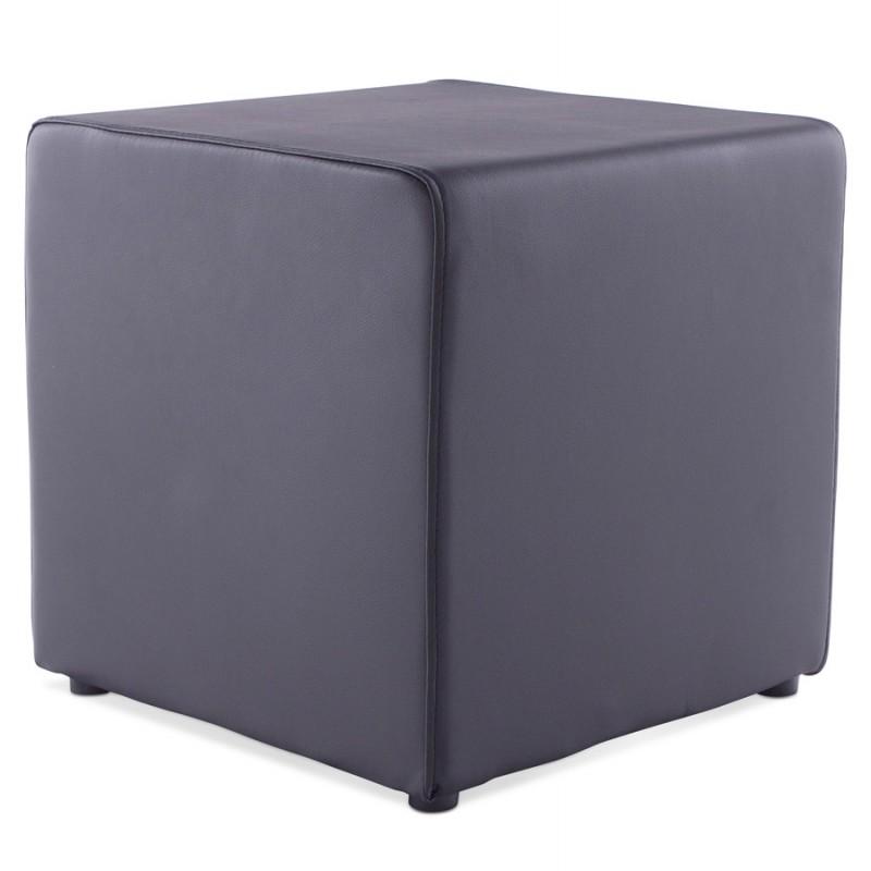 pouf carr caille en simili cuir noir. Black Bedroom Furniture Sets. Home Design Ideas