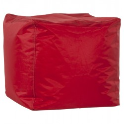 Pouf carré FUNKY en textile (rouge)