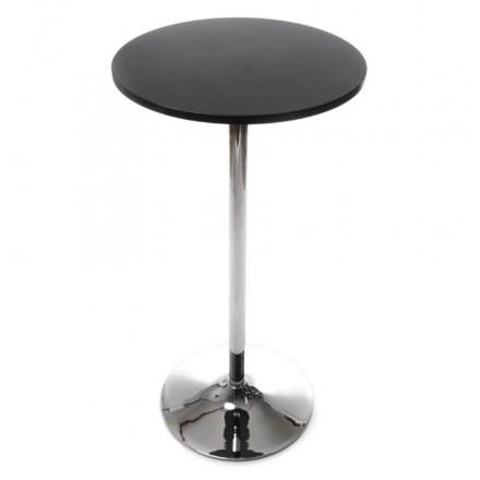 table haute d 39 appoint baleare en bois et m tal chrom 60 cm noir. Black Bedroom Furniture Sets. Home Design Ideas