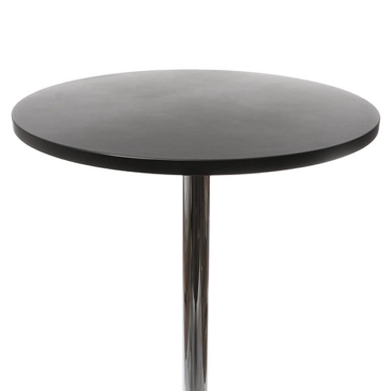 Table haute d 39 appoint baleare en bois et m tal chrom noir fran ais f - Table d appoint bois et metal ...