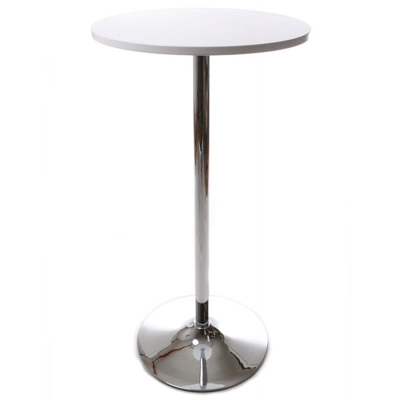 Table haute d 39 appoint baleare en bois et m tal chrom for Table d appoint fly