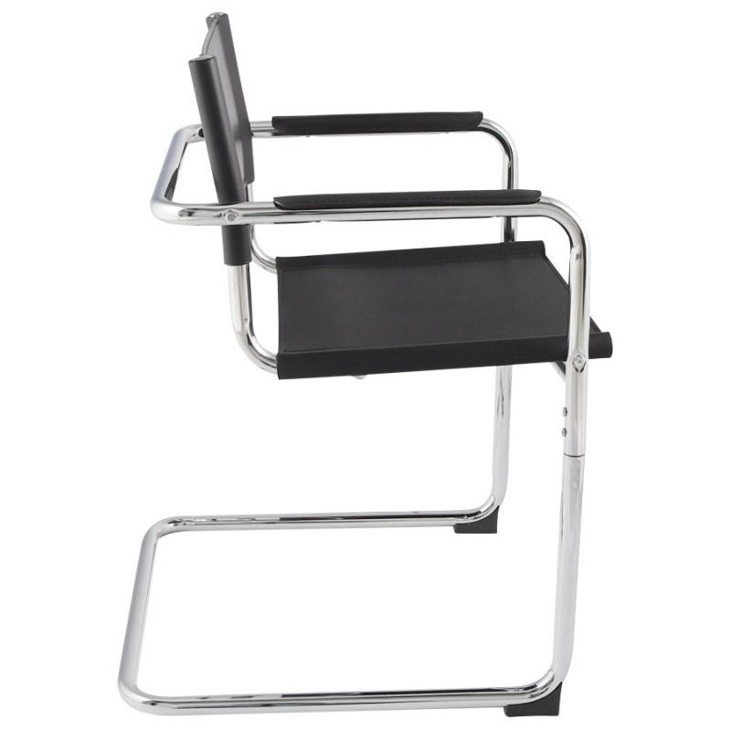 chaise design tahiti en simili cuir r sistant et m tal chrom noir. Black Bedroom Furniture Sets. Home Design Ideas