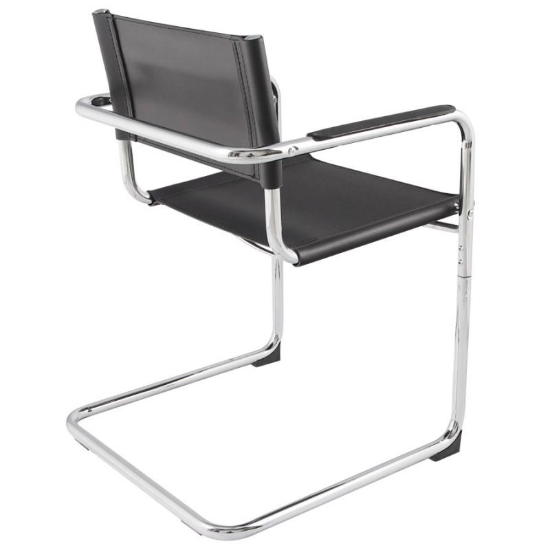 chaise design tahiti en simili cuir r sistant et m tal chrom noir mobilier design au meilleur. Black Bedroom Furniture Sets. Home Design Ideas