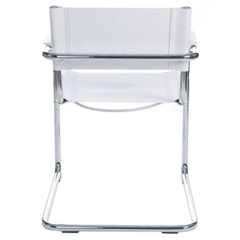 Tahiti design chair durable leatherette and chrome metal white - Chaise imitation cuir ...