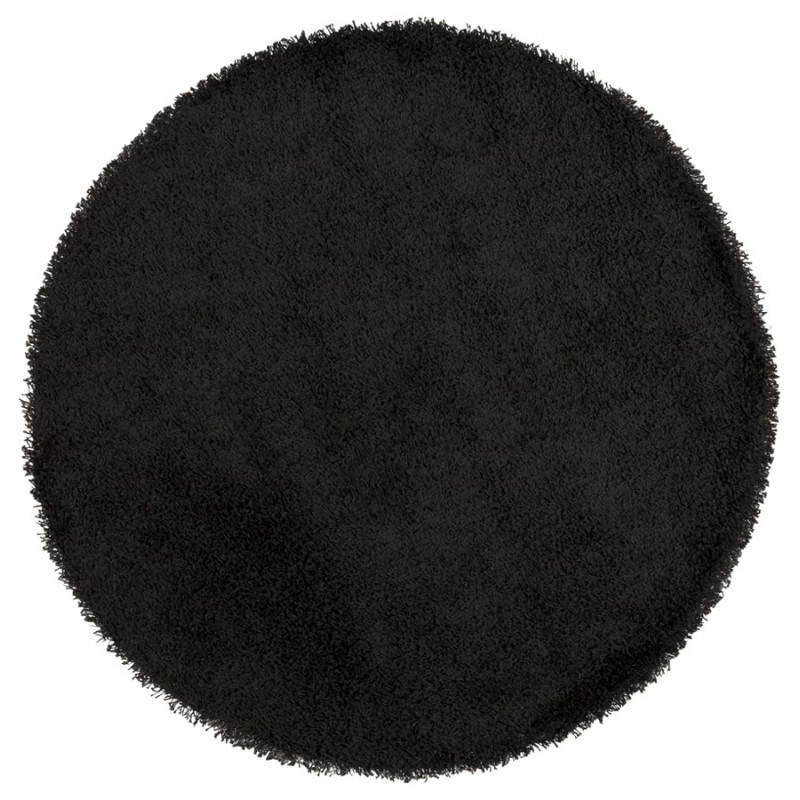 Tapis contemporain et design mike rond petit mod le noir fran ais french for Petit tapis rond