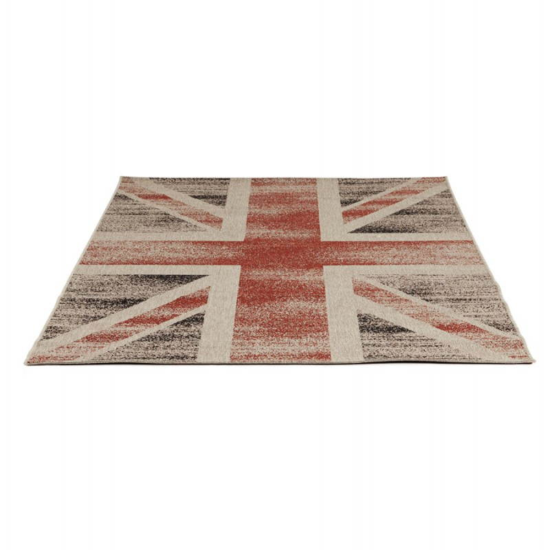 Tapis contemporain et design drapeau uk rectangulaire grand mod le noir rou - Tapis rouge et noir design ...