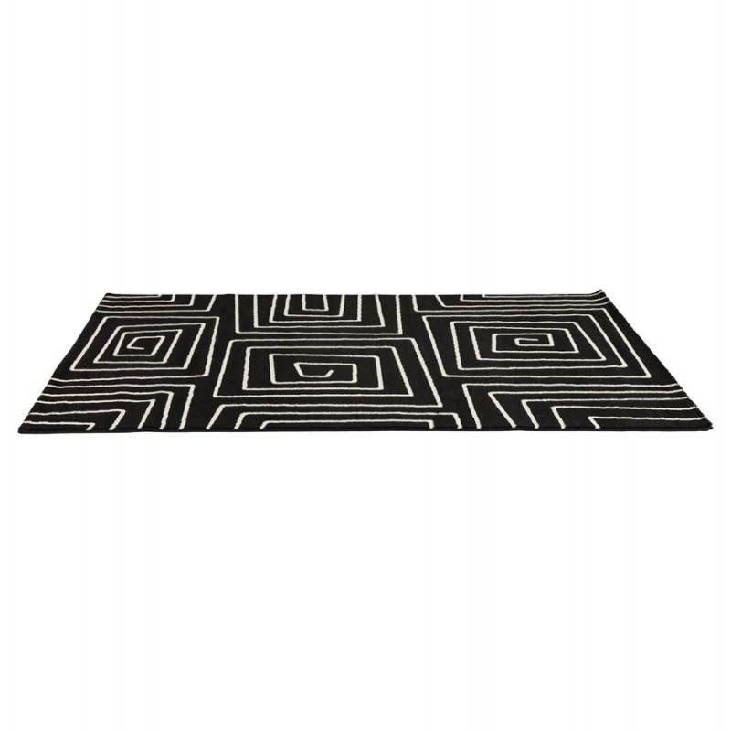 Tapis contemporain et design rafy rectangulaire 160 x 230 noir blanc - Tapis design noir et blanc ...