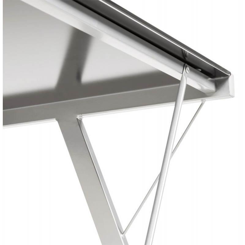 Bureau design bary en verre et m tal noir transparent - Bureau design verre metal ...