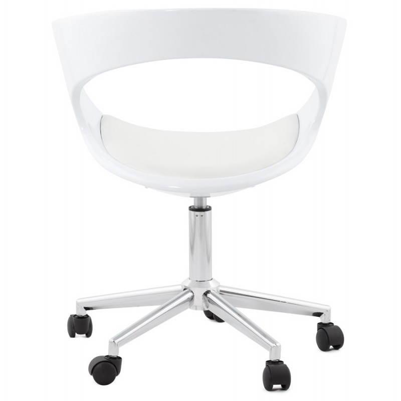 chaise de bureau sp re ramos en simili cuir blanc fran ais french. Black Bedroom Furniture Sets. Home Design Ideas