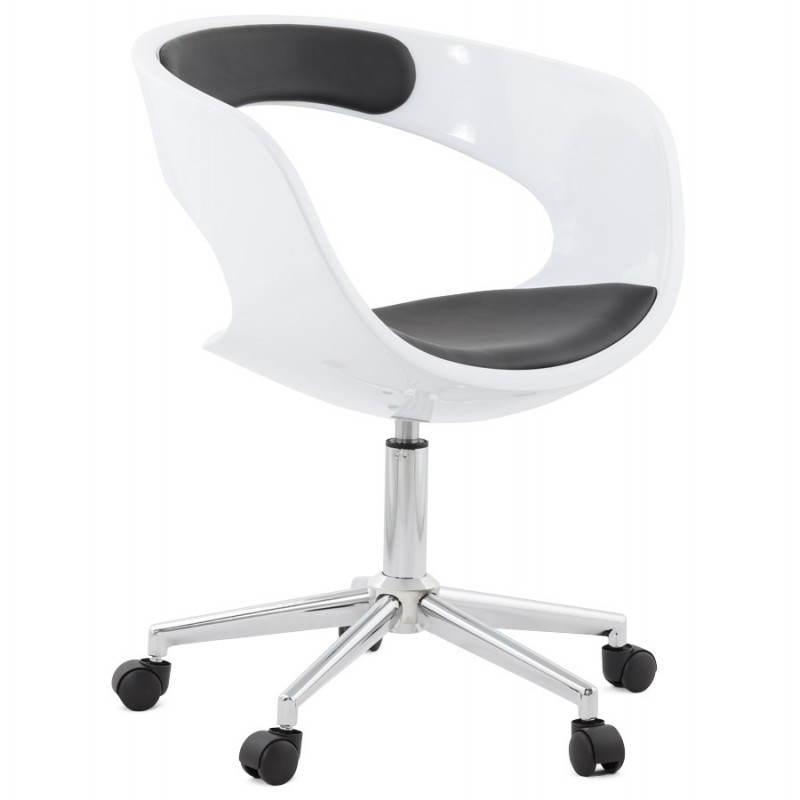 chaise de bureau sp re ramos en simili cuir blanc et noir fran ais french. Black Bedroom Furniture Sets. Home Design Ideas