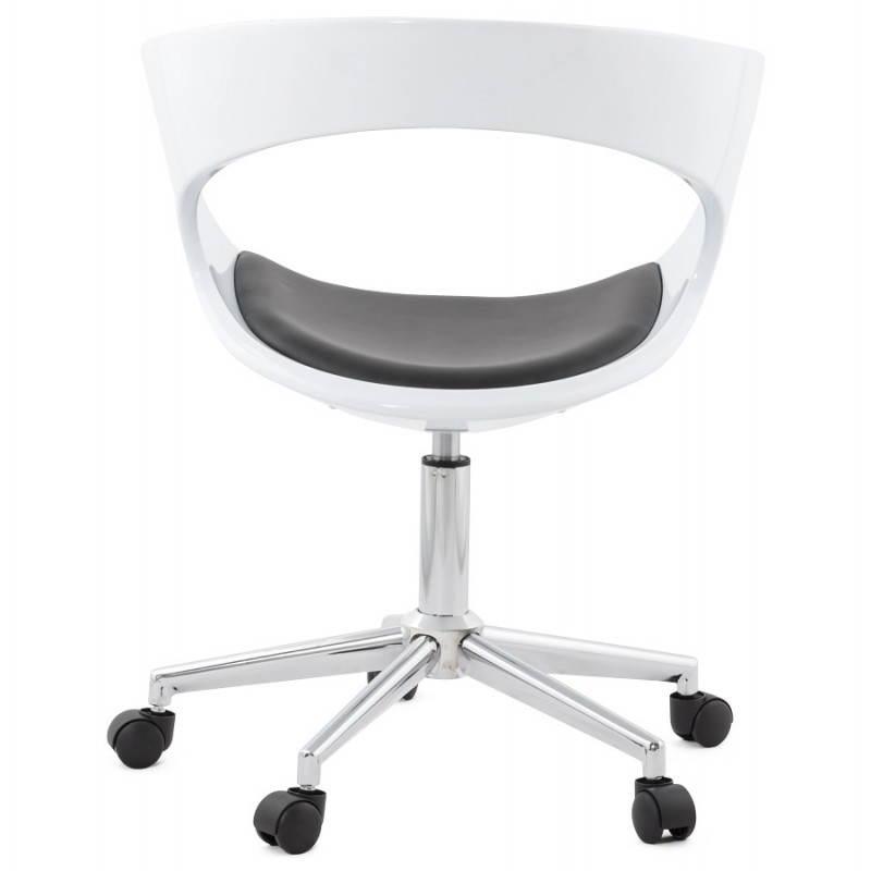chaise de bureau sp re ramos en simili cuir blanc et noir. Black Bedroom Furniture Sets. Home Design Ideas
