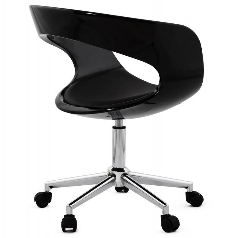Chaise de bureau sp re ramos en simili cuir noir fran ais french - Chaise de bureau en cuir ...