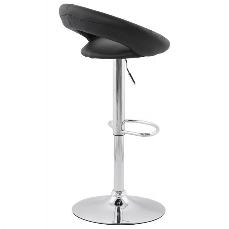 tabouret de bar rond contemporain iris en simili cuir et m tal chrom noir fran ais french. Black Bedroom Furniture Sets. Home Design Ideas