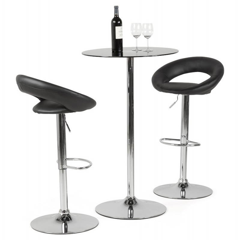 Tabouret de bar rond contemporain iris en simili cuir et m tal chrom noir for Tabouret bar contemporain