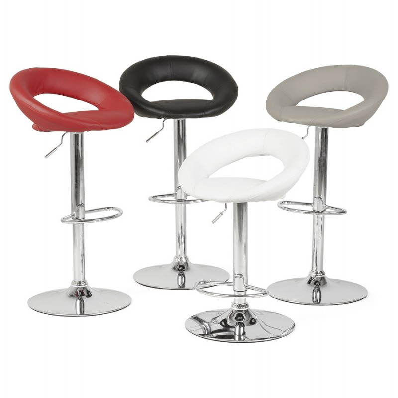tabouret de bar rond contemporain iris en simili cuir et m tal chrom noir. Black Bedroom Furniture Sets. Home Design Ideas