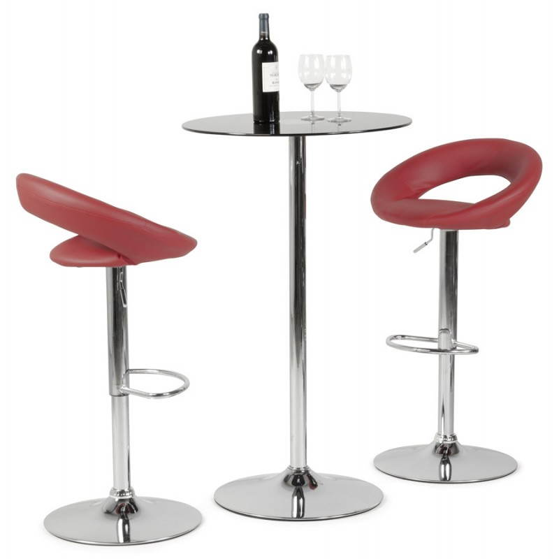 tabouret de bar rond contemporain iris en simili cuir et m tal chrom rouge. Black Bedroom Furniture Sets. Home Design Ideas
