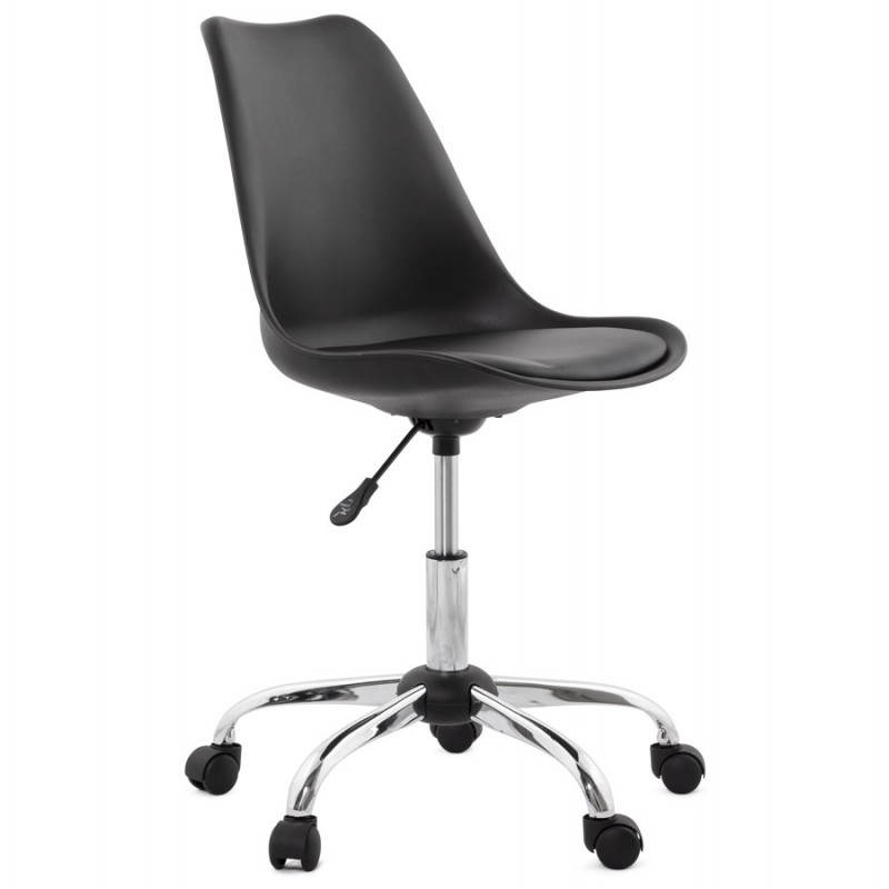 Chaise de bureau design paul en simili cuir et m tal chrom noir - Chaise de bureau en cuir ...