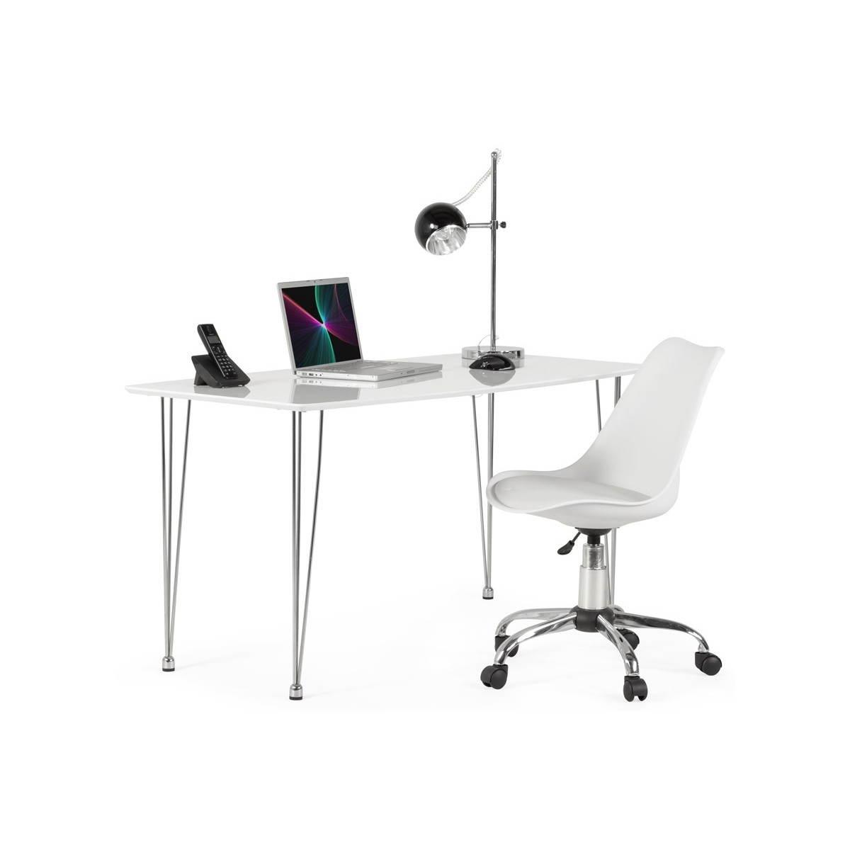 chaise de bureau design paul en simili cuir et m tal chrom blanc fran ais french. Black Bedroom Furniture Sets. Home Design Ideas
