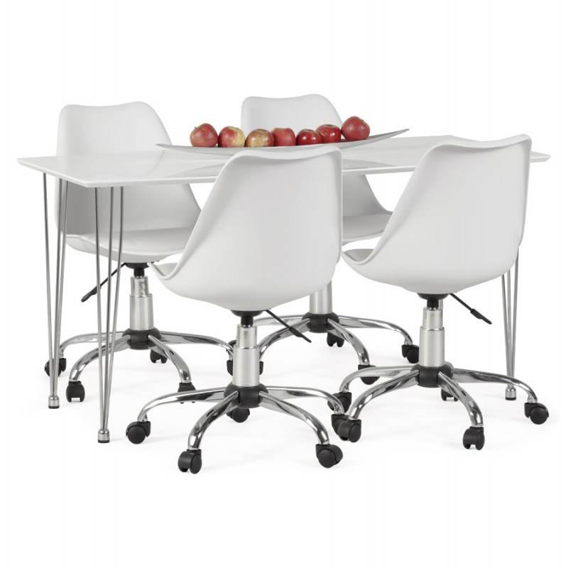 chaise de bureau design paul en simili cuir et m tal chrom blanc. Black Bedroom Furniture Sets. Home Design Ideas