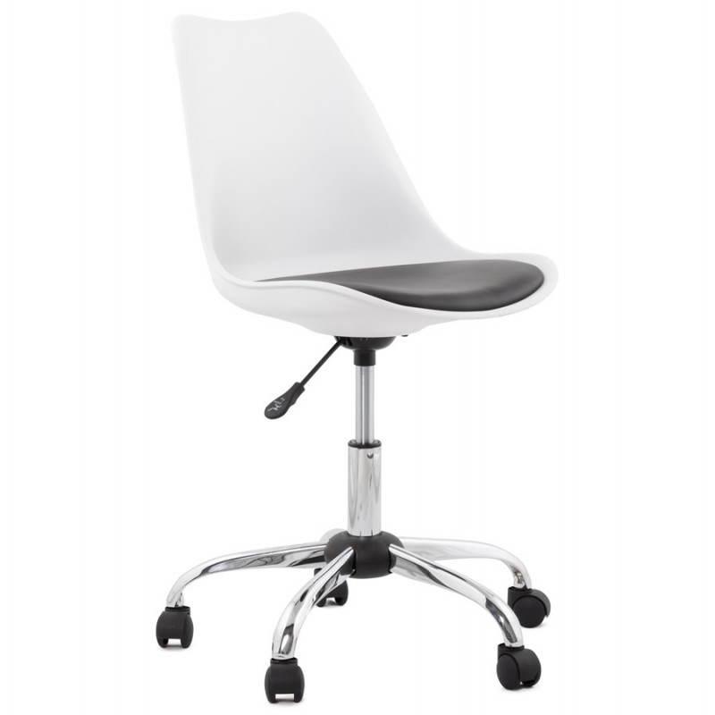 chaise de bureau design paul en simili cuir et m tal chrom blanc et noir fran ais french. Black Bedroom Furniture Sets. Home Design Ideas