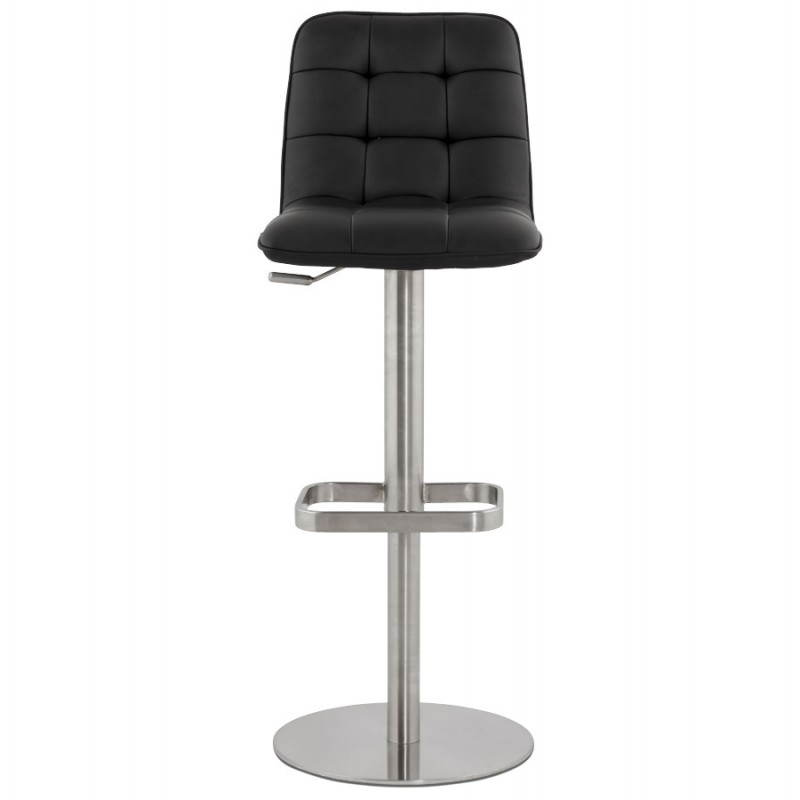 tabouret de bar matelass anais en simili cuir et m tal bross noir. Black Bedroom Furniture Sets. Home Design Ideas