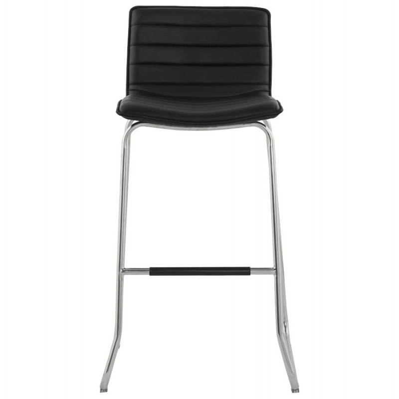 tabouret de bar design margo en simili cuir et m tal chrom noir. Black Bedroom Furniture Sets. Home Design Ideas