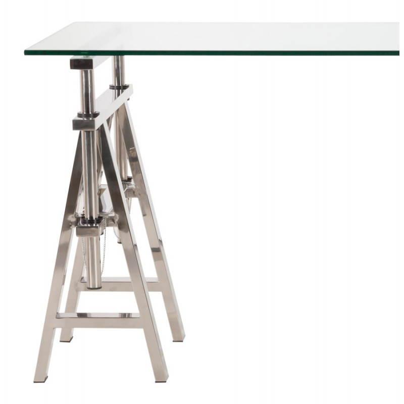 Bureau design sur pieds r glables maldives en verre tremp for Pied de table design inox
