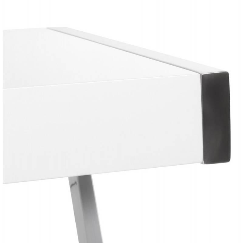Bureau Design Bois Laque : Bureau design GRECE en bois laqu? et m?tal chrom? (blanc