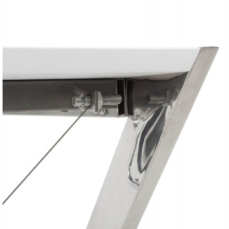 Bureau Design Bois Laque : Bureau design GRECE en bois laqu? et m?tal chrom? (blanc) (English