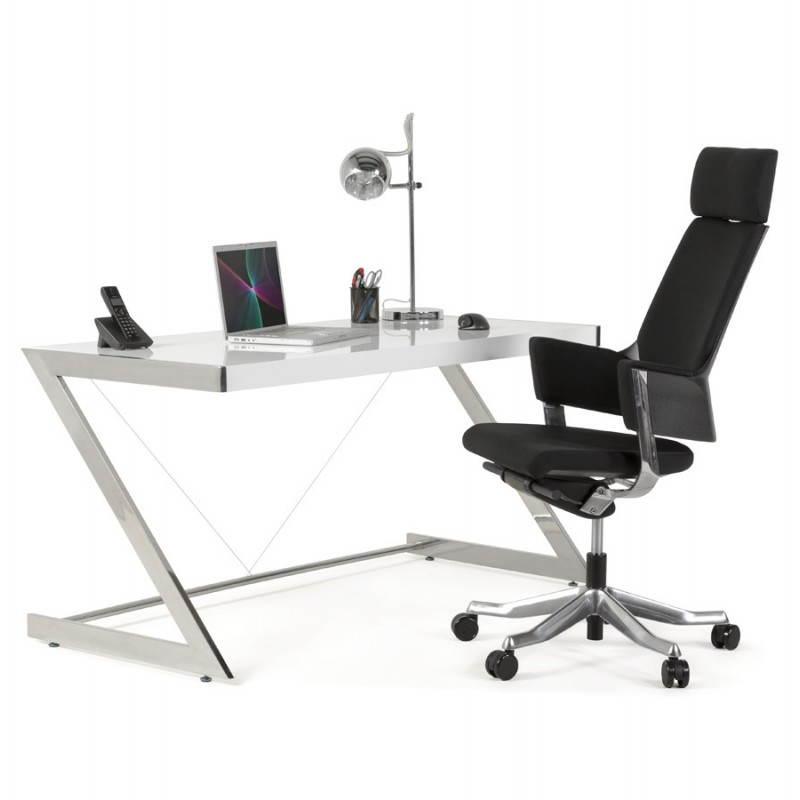 Bureau Design Bois Laque : Bureau design GRECE en bois laqu? et m?tal chrom? (blanc) Mobilier