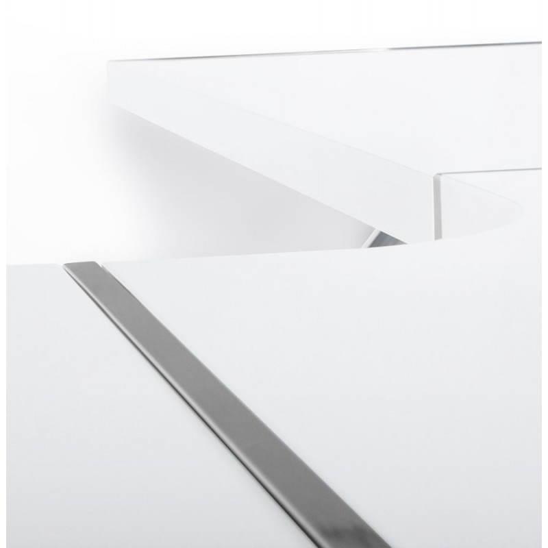 Bureau d angle en m tal et bois avec tiroirs et porte for Bureau d angle laque blanc