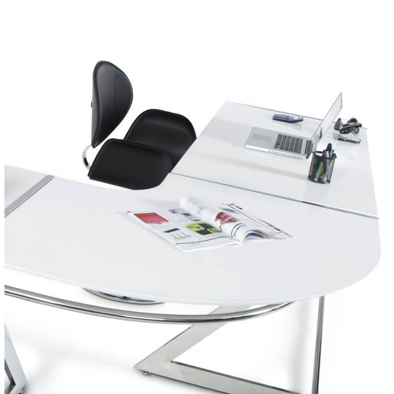 Bureau d 39 angle design tutti en bois laqu et m tal chrom for Grand bureau blanc laque