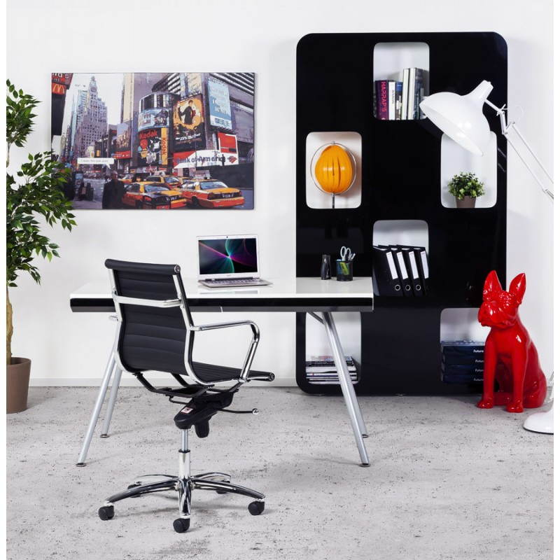 Bureau Design Bois Laque : Bureau design PALAOS en bois laqu? et m?tal peint (blanc) (Fran?ais