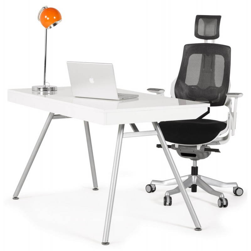 Bureau Design Bois Laque : Bureau design PALAOS en bois laqu? et m?tal peint (blanc) Mobilier