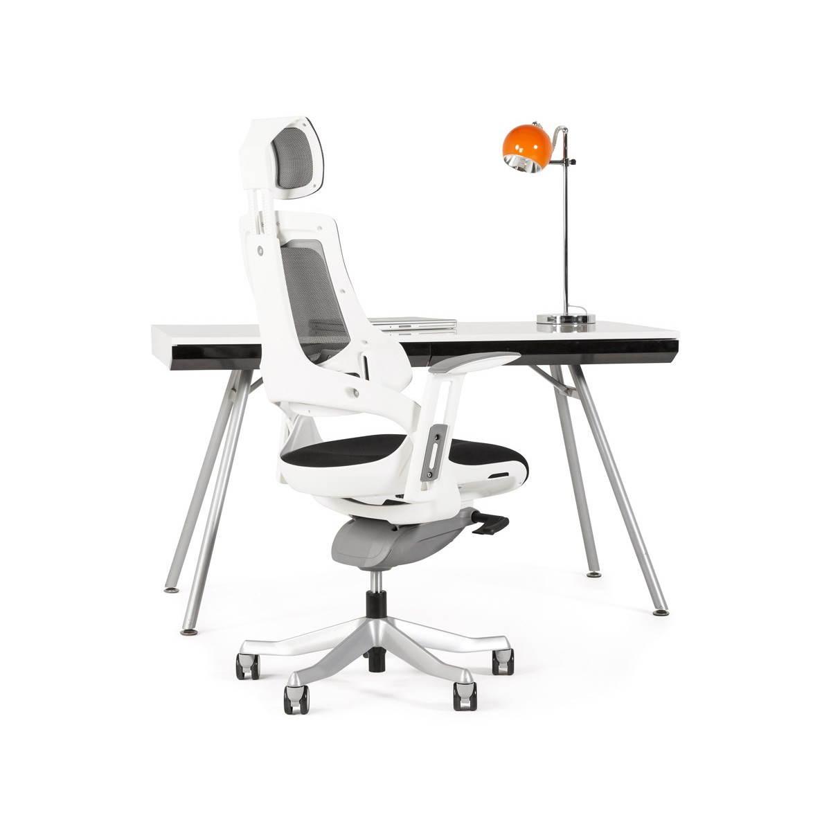 Bureau Design Bois Laque : Bureau design PALAOS en bois laqu? et m?tal peint (blanc) (English