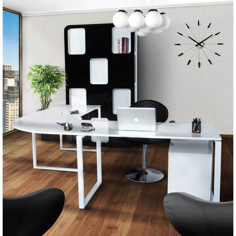 bureau d 39 angle design fidji en bois laqu et m tal peint blanc. Black Bedroom Furniture Sets. Home Design Ideas