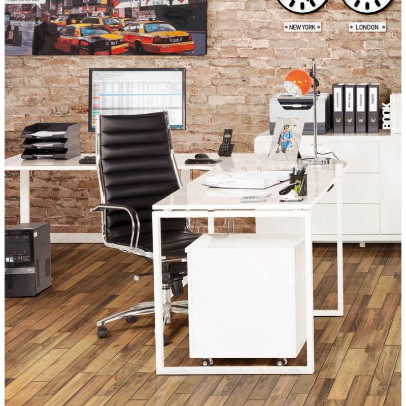 Bureau Design Bois Laque : Bureau d'angle design FIDJI en bois laqu? et m?tal peint (blanc