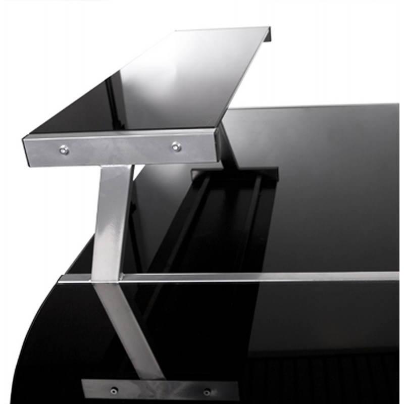 Bureau d 39 angle design chili en acier et verre s curit for Bureau d angle noir