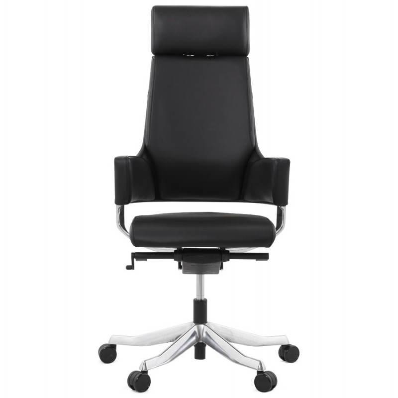 Fauteuil de bureau design ergonomique cuba en cuir noir fran ais french - Fauteuil design cuir noir ...