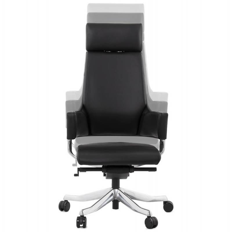 Fauteuil de bureau design ergonomique CUBA en cuir (noir) (Français ...