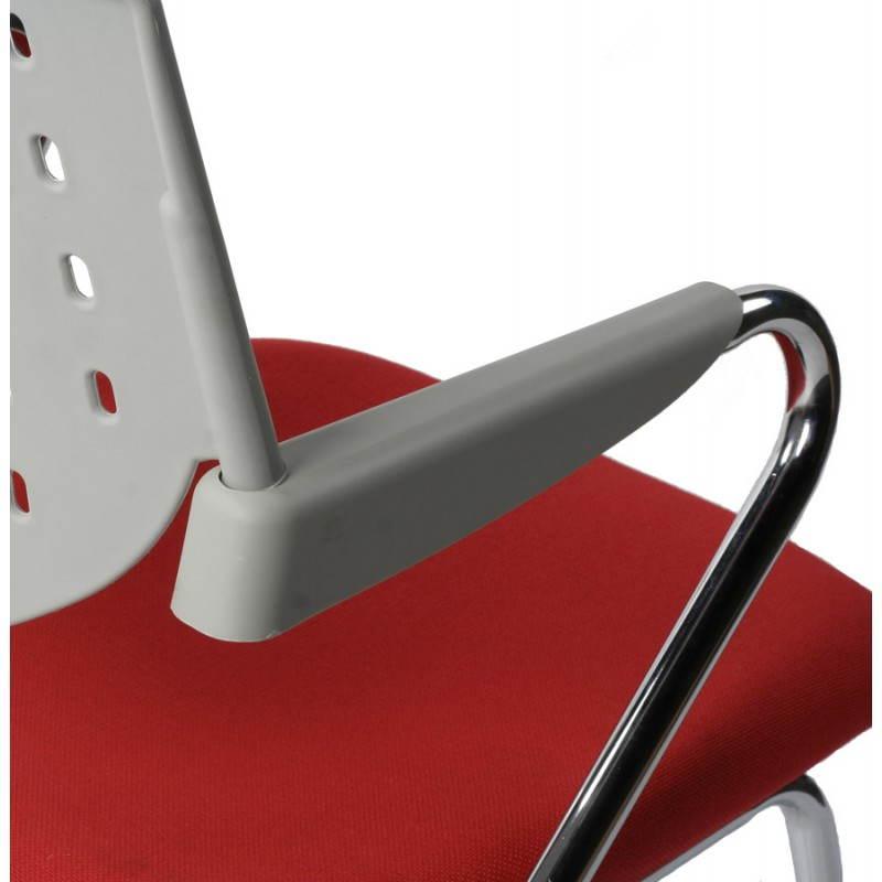 chaise de bureau design bermudes en tissu rouge et gris. Black Bedroom Furniture Sets. Home Design Ideas