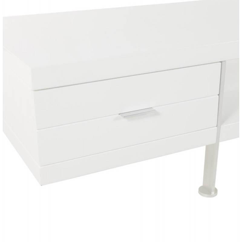 meuble tv porquerolles en bois laqu blanc fran ais french. Black Bedroom Furniture Sets. Home Design Ideas